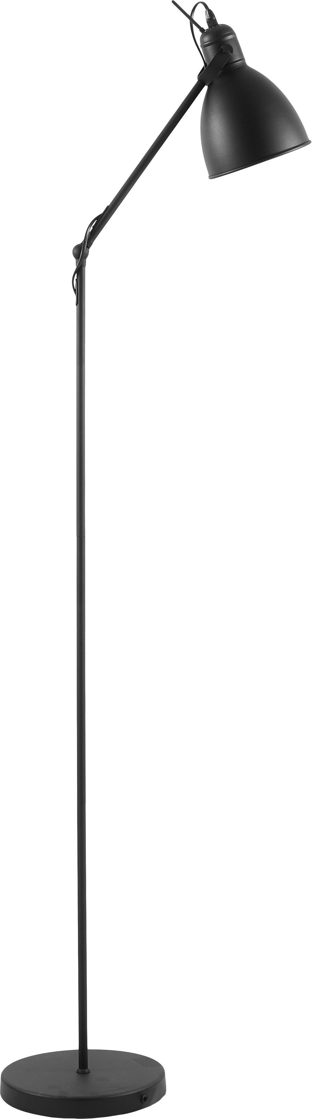 Lámpara de pie de metal Ethan, estilo industrial, Pantalla: metal con pintura en polv, Cable: plástico, Negro, Ø 15 x Al 137 cm