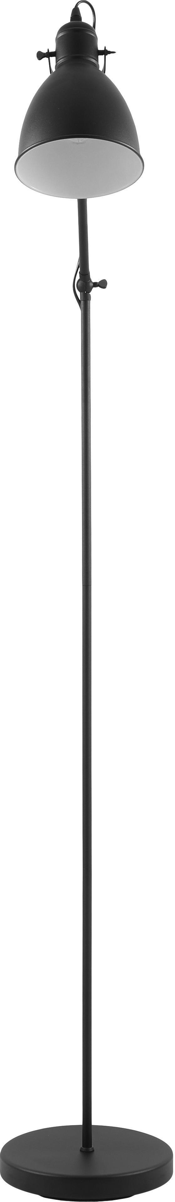 Industrial-Leselampe Ethan aus Metall, Lampenschirm: Metall, pulverbeschichtet, Lampenfuß: Metall, pulverbeschichtet, Schwarz, ∅ 15 x H 137 cm