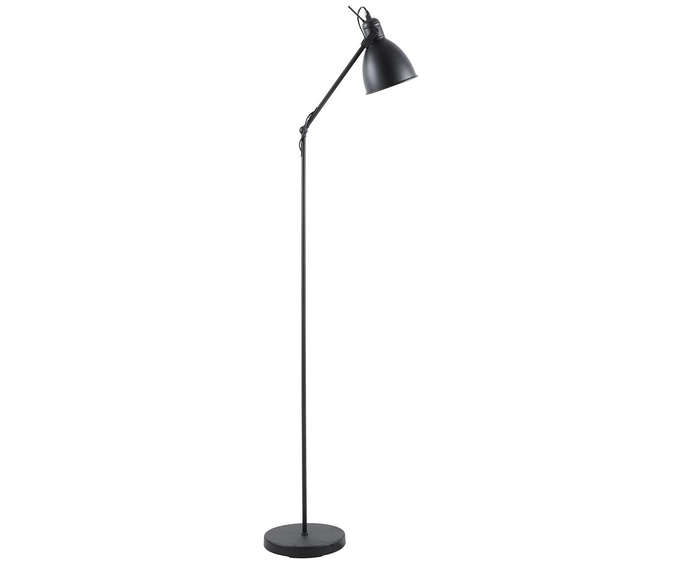 Vloerlamp Ethan, Lampenkap: gepoedercoat metaal, Lampvoet: gepoedercoat metaal, Zwart, Ø 15 x H 137 cm