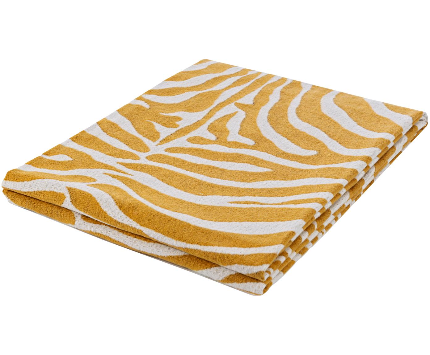 Plaid Sana mit Zebra Print in Gelb/Weiß, Webart: Jacquard, Senfgelb, Weiß, 140 x 180 cm