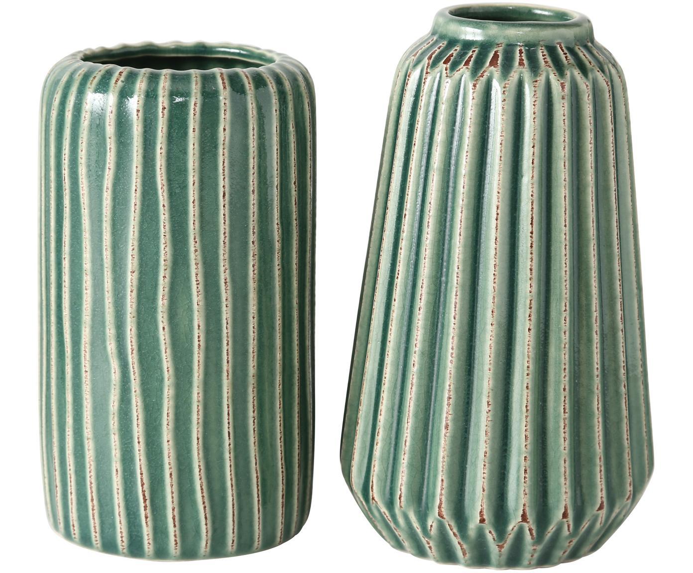 Steingut-Vasen-Set Icona, 2-tlg., Steingut, Grün, Braun, Beige, Verschiedene Grössen