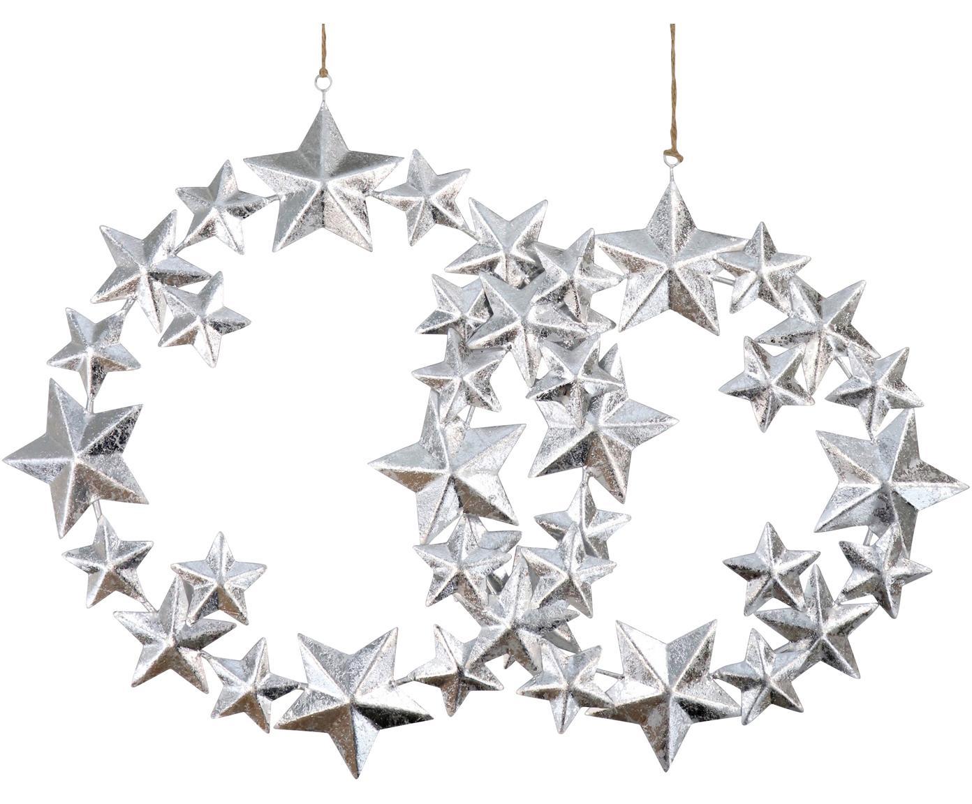 Deko-Anhänger-Set Stars, 2-tlg., Metall, beschichtet, Silberfarben, Sondergrößen