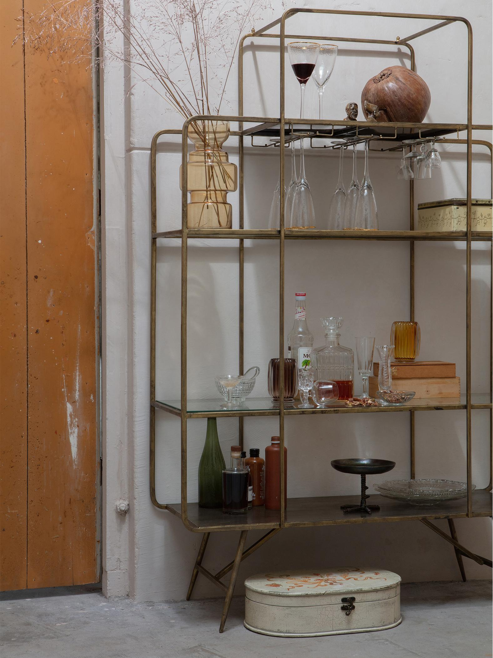 Weinregal Cheers mit Antik-Finish, Metall, lackiert, Messingfarben, 110 x 167 cm