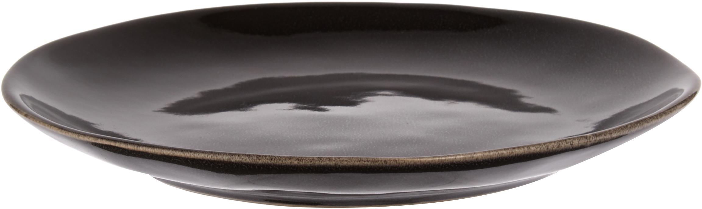 Ręcznie wykonany komplet naczyń śniadaniowych Nordic Coal, 12 elem., Kamionka, Brązowy, Różne rozmiary
