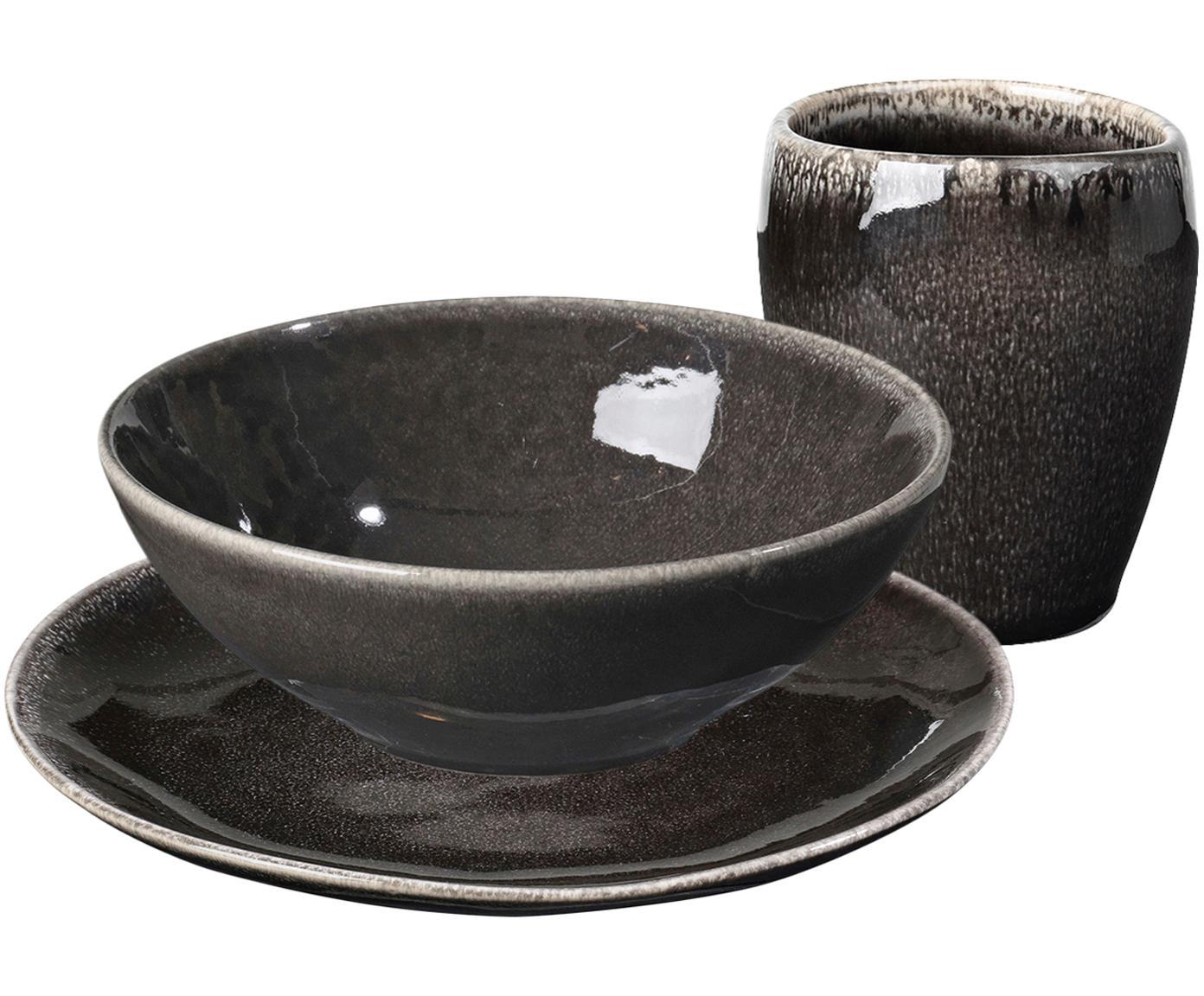 Handgemaakte ontbijtset Nordic Coal, 12-delig, Keramiek, Bruin, Verschillende formaten