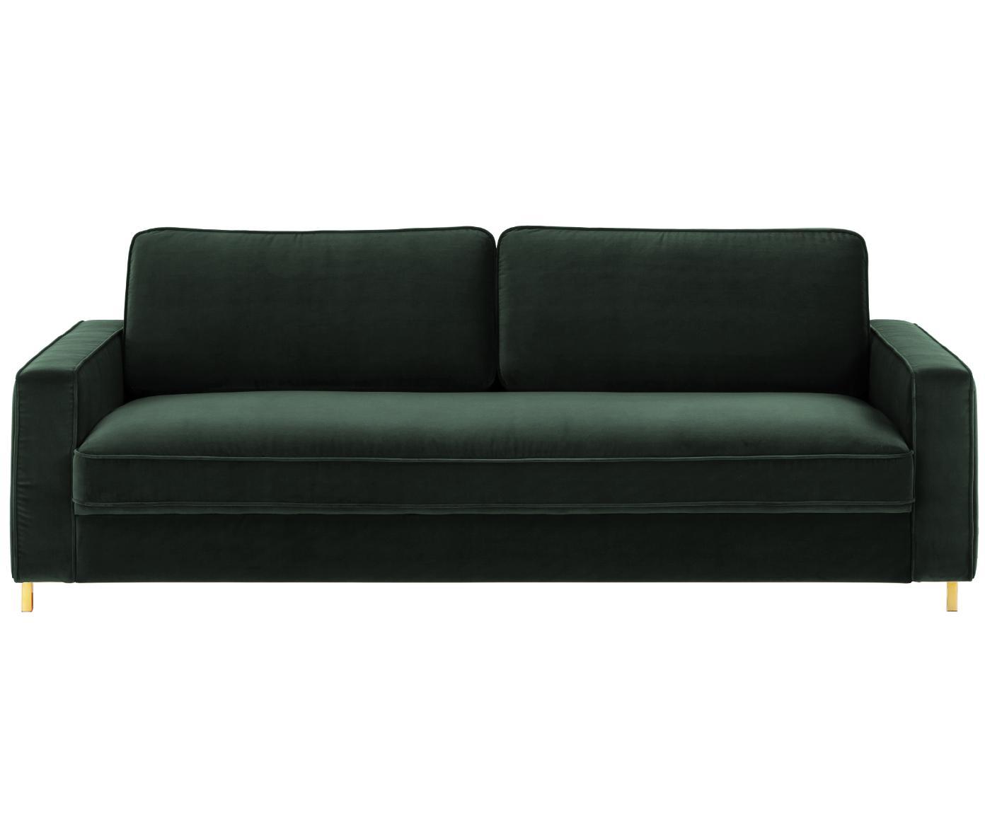 Samt-Sofa Chelsea (3-Sitzer), Bezug: Samt (Hochwertiger Polyes, Gestell: Massives Fichtenholz, Füße: Metall, beschichtet, Samt Dunkelgrün, B 228 x T 100 cm