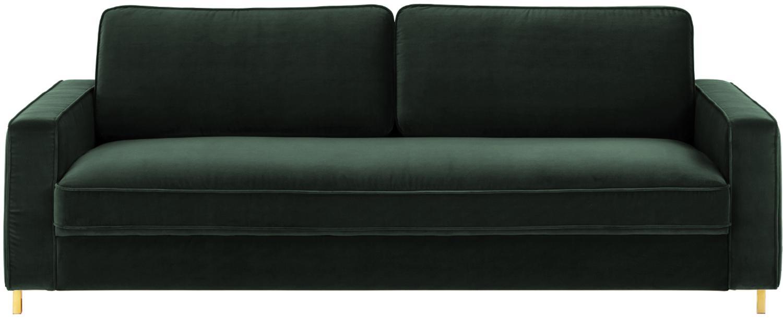 Sofa z aksamitu Chelsea (3-osobowa), Tapicerka: aksamit (wysokiej jakości, Stelaż: lite drewno świerkowe, Tapicerka: pianka na zawieszeniu spr, Nogi: metal malowany proszkowo, Ciemnyzielony, S 228 x G 100 cm
