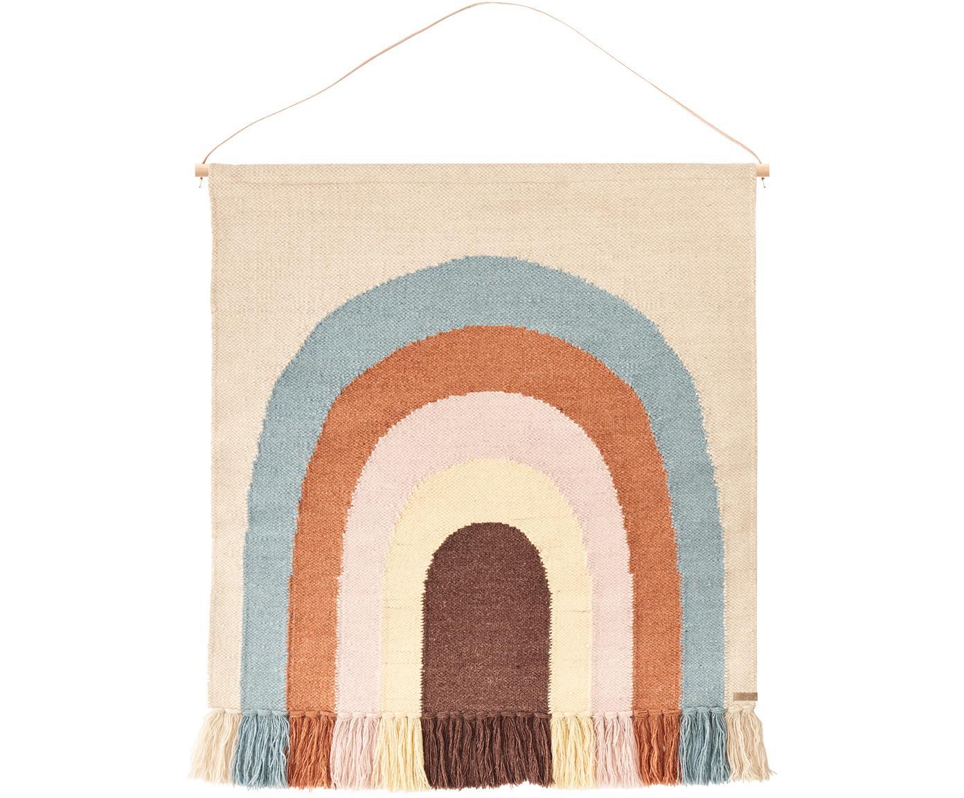Wandobject Rainbow, 80% wol, 20% katoen, Beige, blauw, oranje, roze, crèmekleurig, oudroze, 100 x 115 cm
