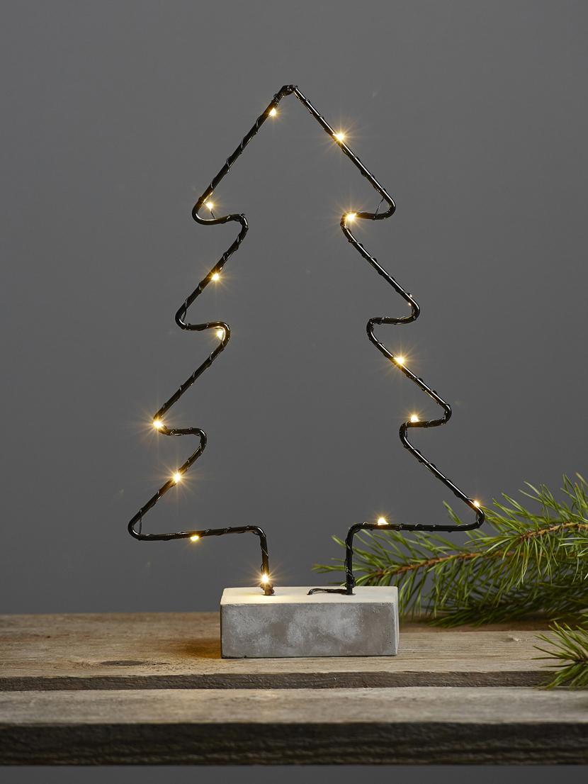 LED Leuchtobjekt Cemmy, batteriebetrieben, Sockel: Beton, Schwarz, Betongrau, 23 x 35 cm