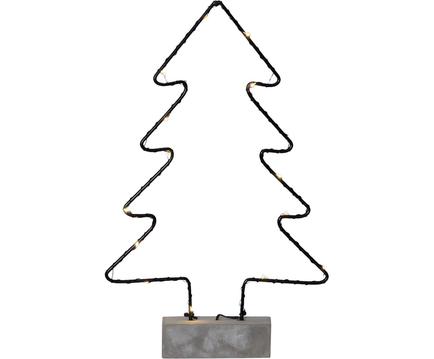 LED lichtobject Cemmy, batterij-aangedreven, Voetstuk: beton, Zwart, betongrijs, 23 x 35 cm