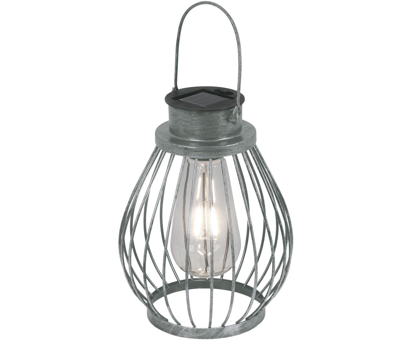 Solar LED lamp Grid, Metaal, glas, kunststof, Edelstaalkleurig, Ø 16 x H 30 cm