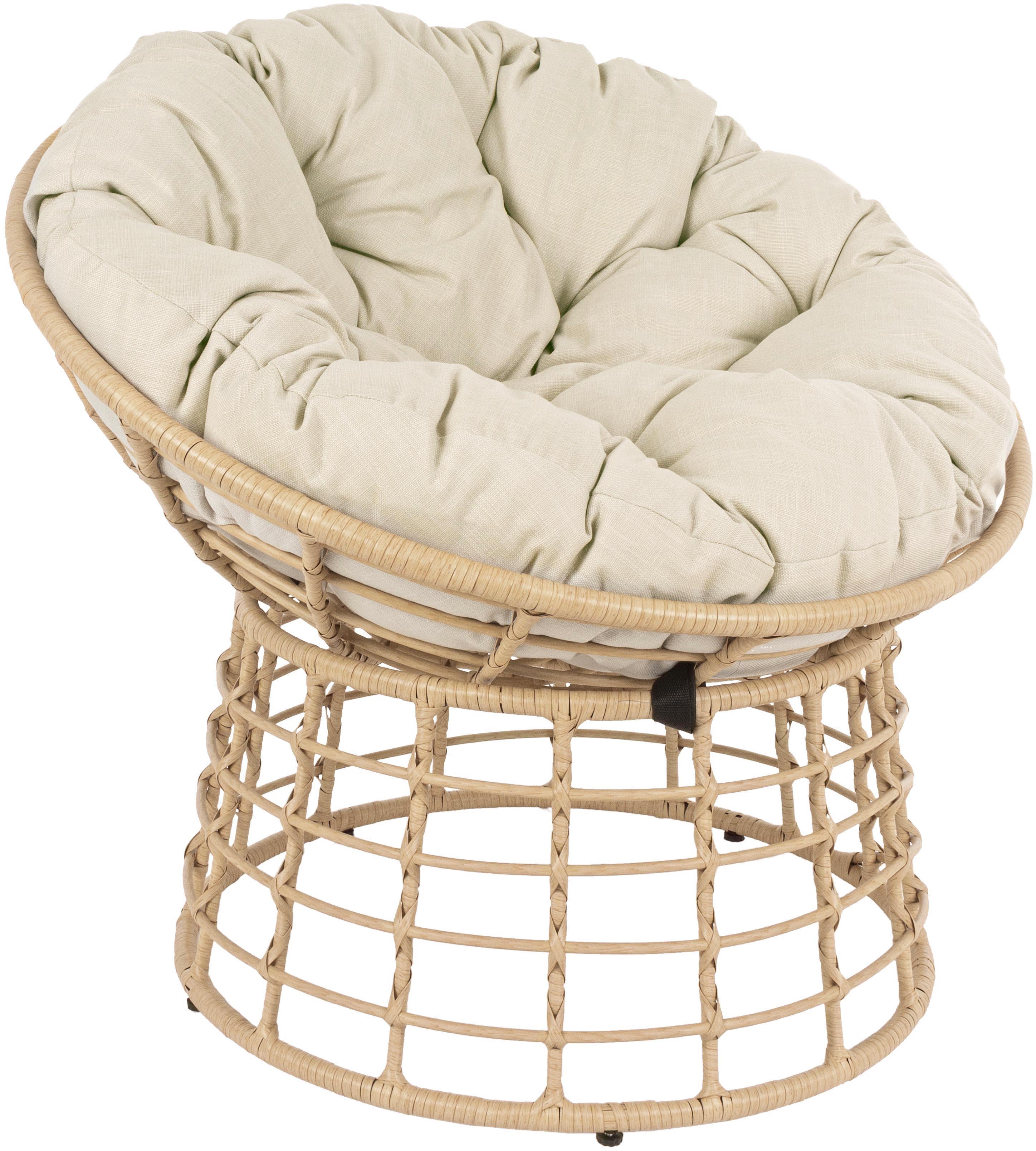 Fotel z tworzywa sztucznego z poduszką na siedzisko Molly, Stelaż: stal malowana proszkowo, Tapicerka: poliester, Jasny brązowy, beżowy, Ø 92 x W 78 cm