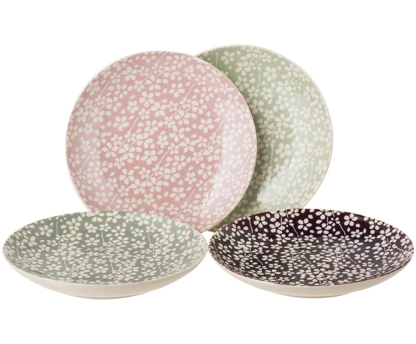 Dessertteller Seeke mit kleinem Muster, 4er-Set, Steingut, Lorbeer, Rauchblau, Pflaume, Mauve, Creme, Ø 15 cm