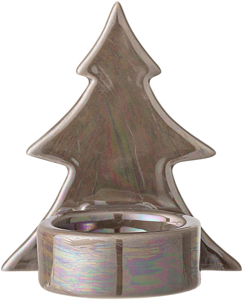 Teelichthalter Mara, Steingut, Braun, 8 x 9 cm