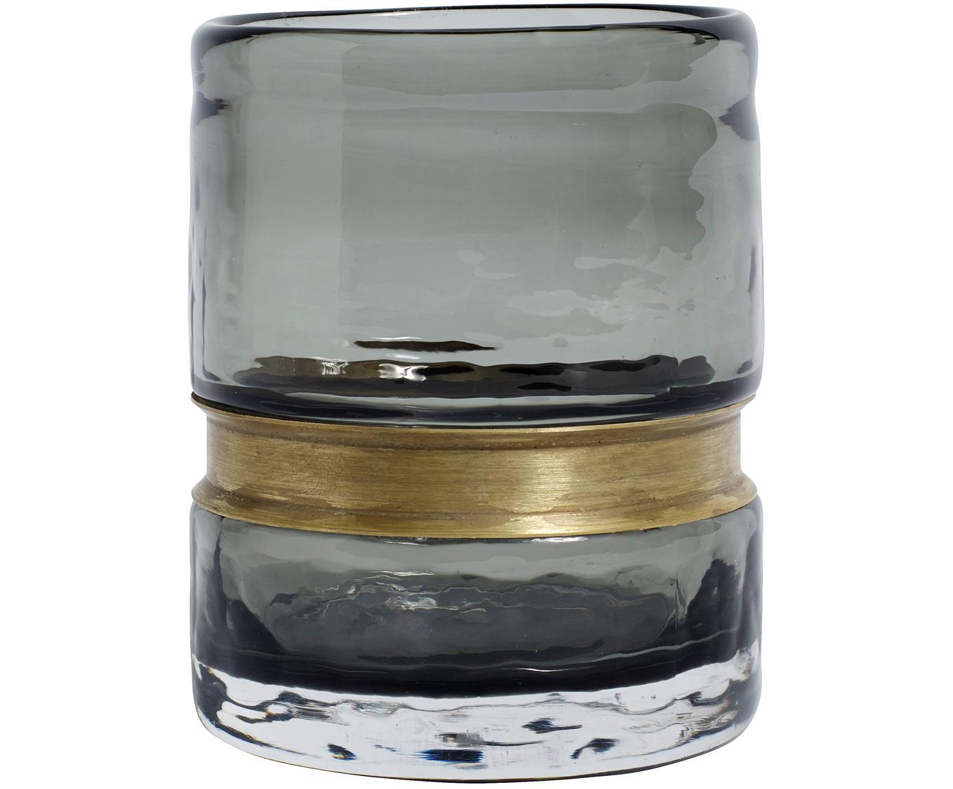 Jarrón de vidrio soplado Julie, Jarrón: vidrio, Jarrón: gris, transparente Ornamento: latón, Ø 9 x Al 10 cm