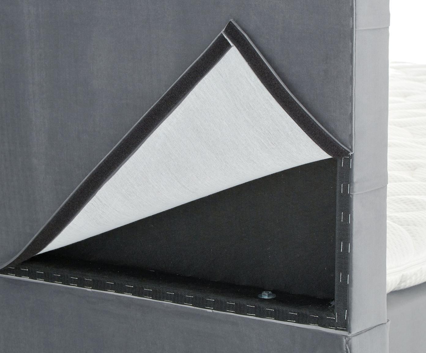 Premium fluwelen boxspring bed Phoebe, Matras: 7-zones-pocketveringkern , Poten: massief gelakt beukenhout, Donkergrijs, 180 x 200 cm