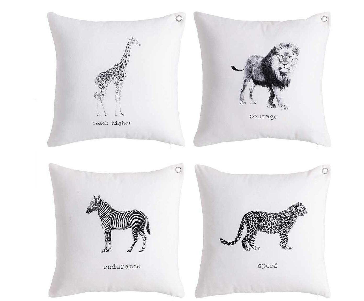 Set de cojines Wildlife, 4pzas., Funda: seda de poliéster, Blanco, negro, An 45 x L 45 cm