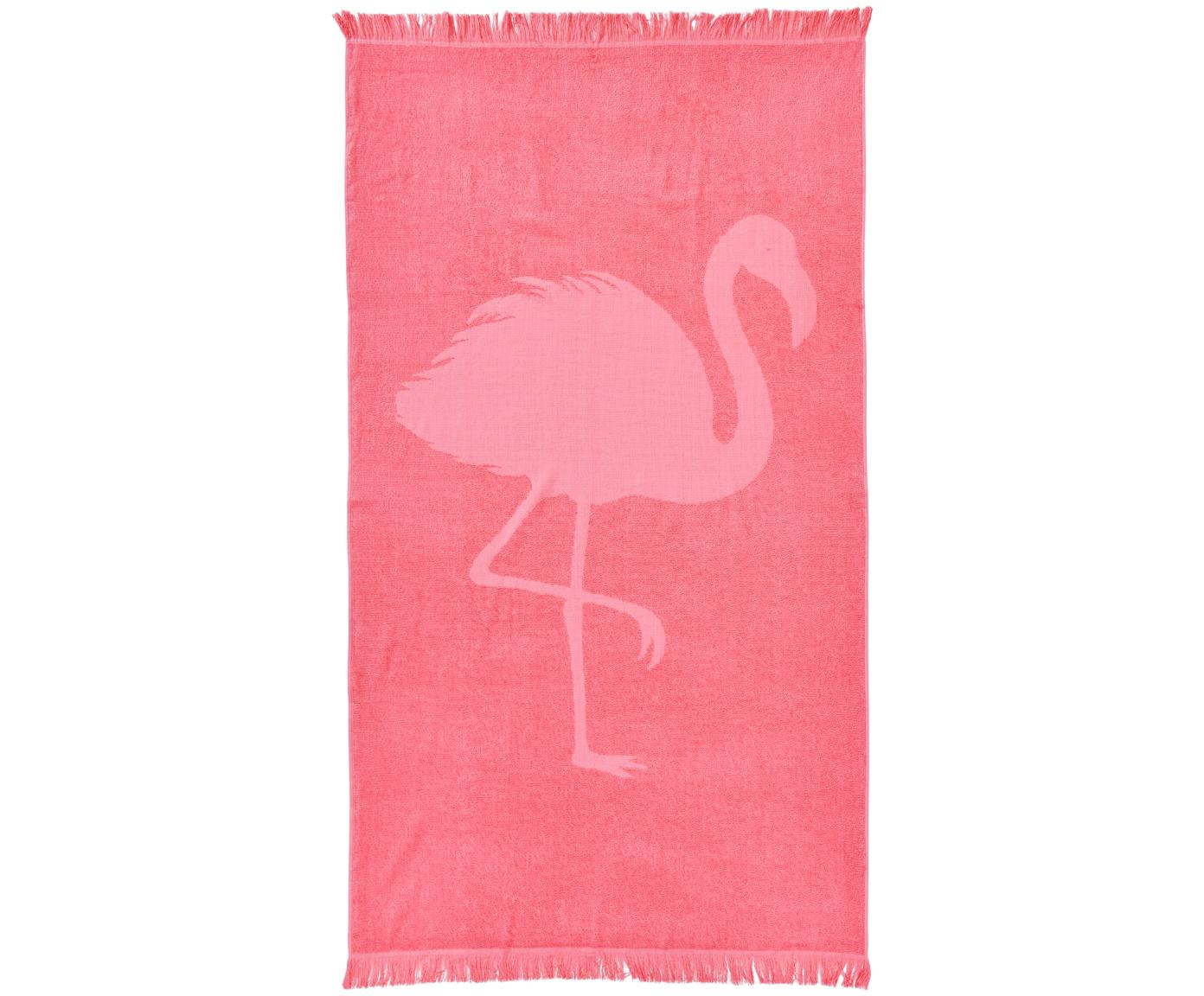 Telo mare in cotone Capri Flamingo, Rosa, Larg. 90 x Lung. 160 cm