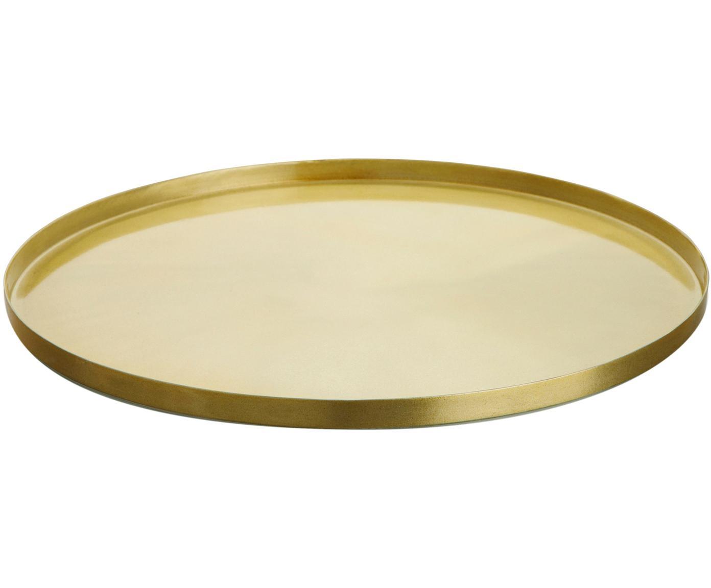 Tablett Tolne, Aluminium, vermessingt, Messing, Ø 35 cm