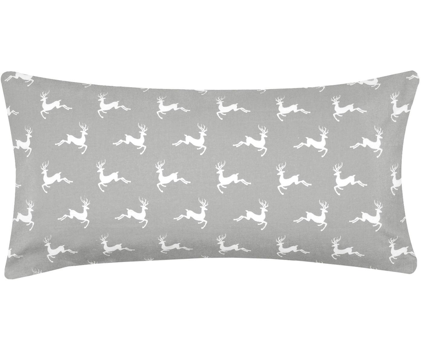 Poszewka na poduszkę z flaneli Rudolph, 2 szt., 100% bawełna, flanela, Szary, beżowy, 40 x 80 cm