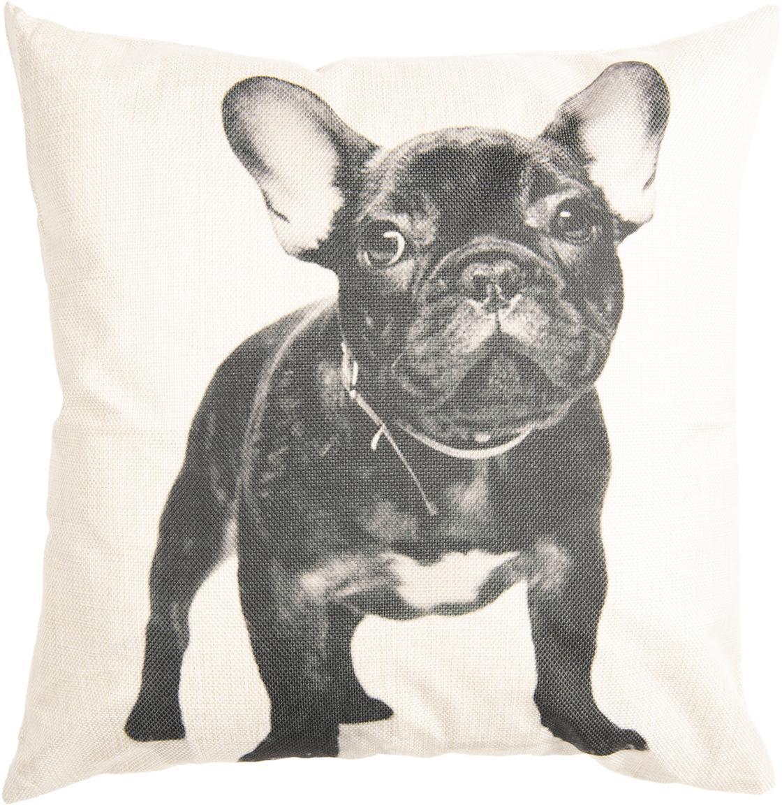 Federa arredo Dog, 100% poliestere, Bianco latteo, nero, Larg. 45 x Lung. 45 cm