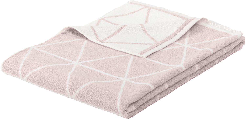 Asciugamano reversibile con motivo grafico Elina, Rosa, bianco crema, Asciugamano