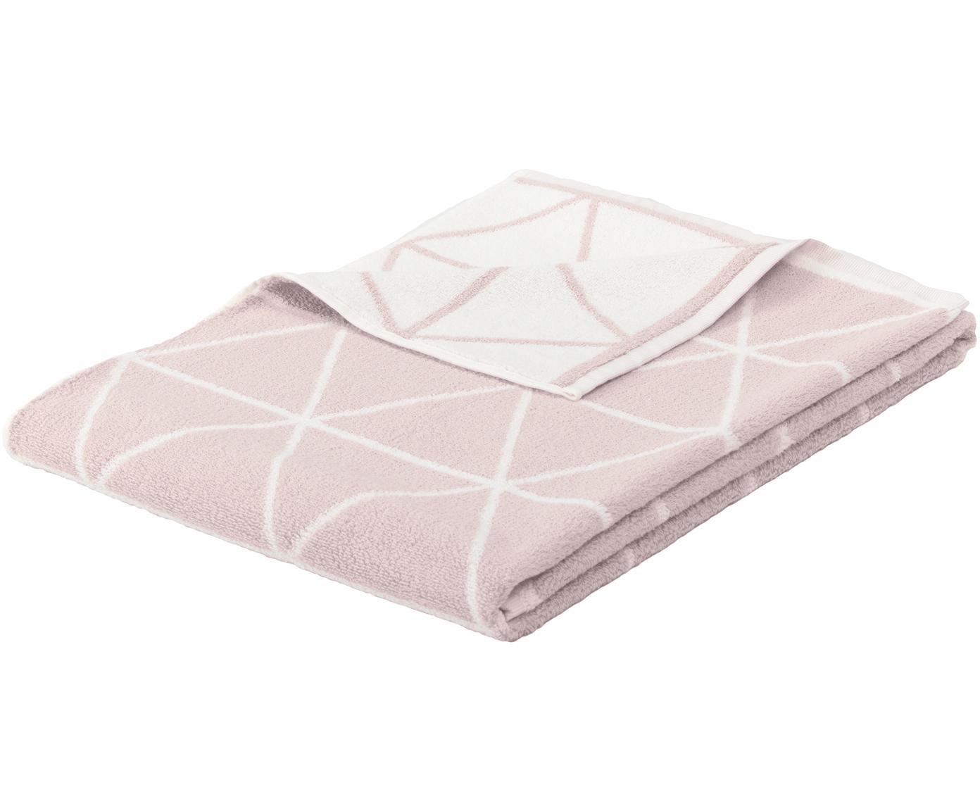 Wende-Handtuch Elina mit grafischem Muster, Rosa, Cremeweiß, Handtuch