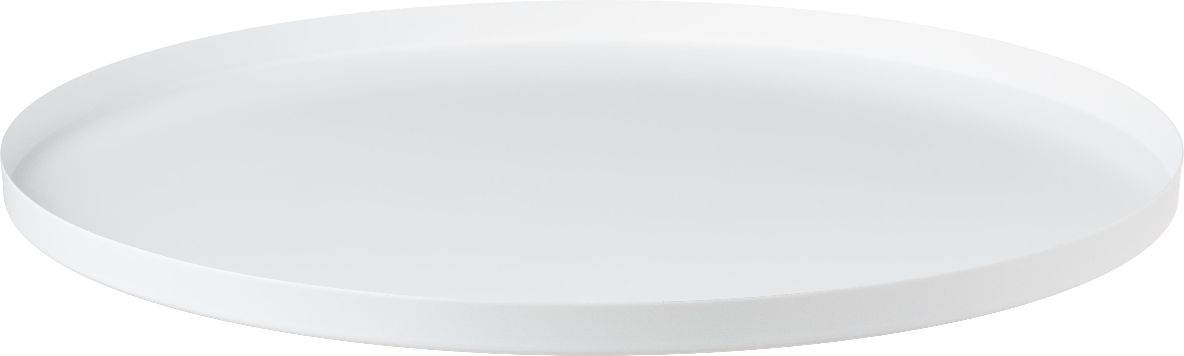 Rundes Deko-Tablett Circle in Weiß, Edelstahl, pulverbeschichtet, Weiß, matt, Ø 40 x H 2 cm