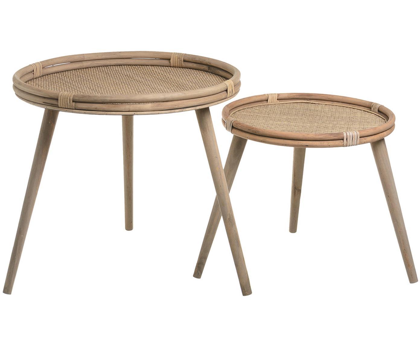 Set de mesas auxiliares Treeni, 2pzas., Ratán, Beige, Tamaños diferentes
