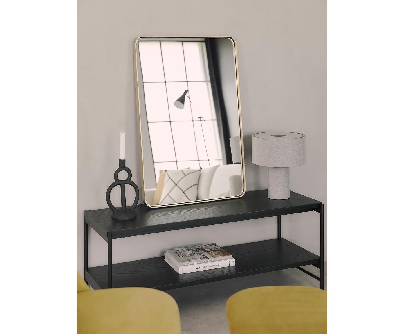 Wandkast Mica, Frame: gepoedercoat metaal, Planken: zwart gelakt eikenhoutfineer. Frame: mat zwart, 120 x 50 cm