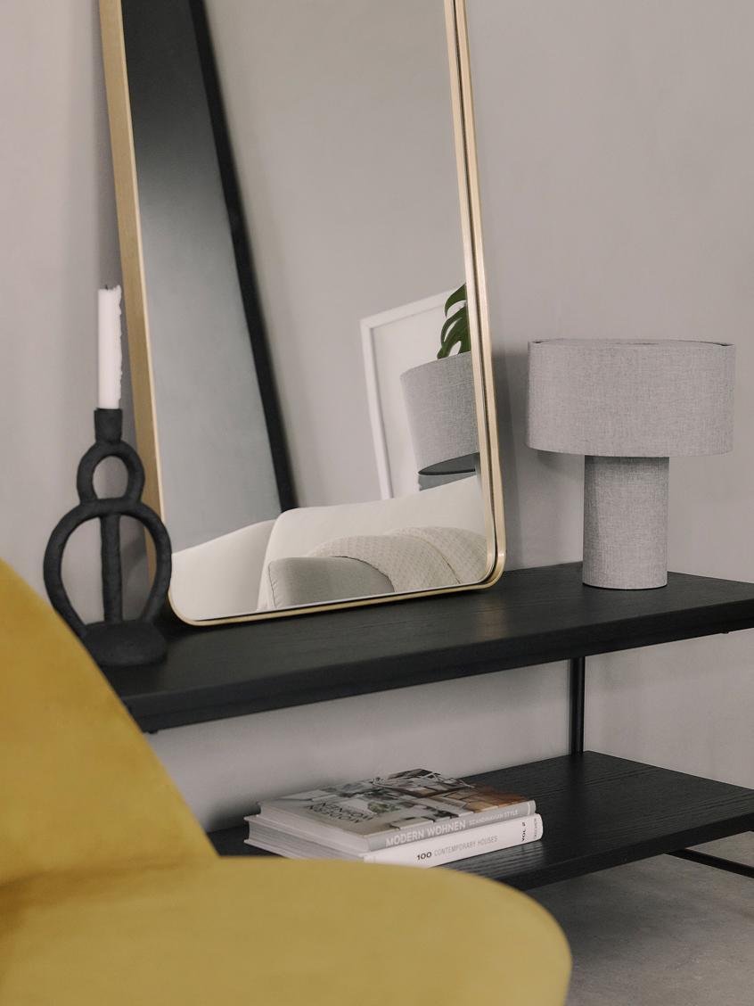 Schwarzes Lowboard Mica mit 2 Ablageflächen, Gestell: Metall, pulverbeschichtet, Regalplatten: Eichenholzfurnier, schwarz lackiertGestell: Schwarz, matt, 120 x 50 cm