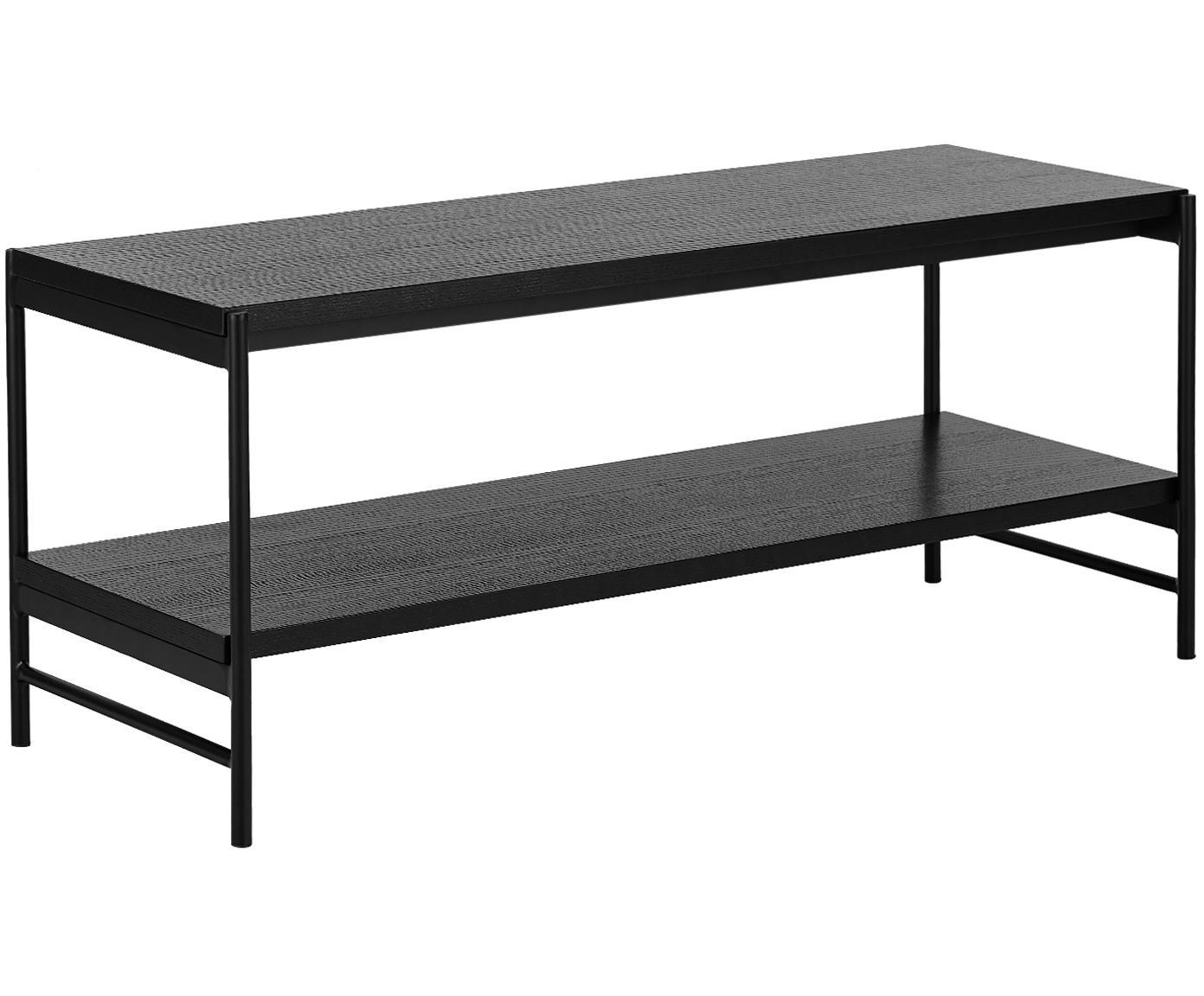 Aparador Mica, 2 estantes, Estantes: tablero de fibras de dens, Estructura: metal con pintura en polv, Negro, An 120 x Al 50 cm