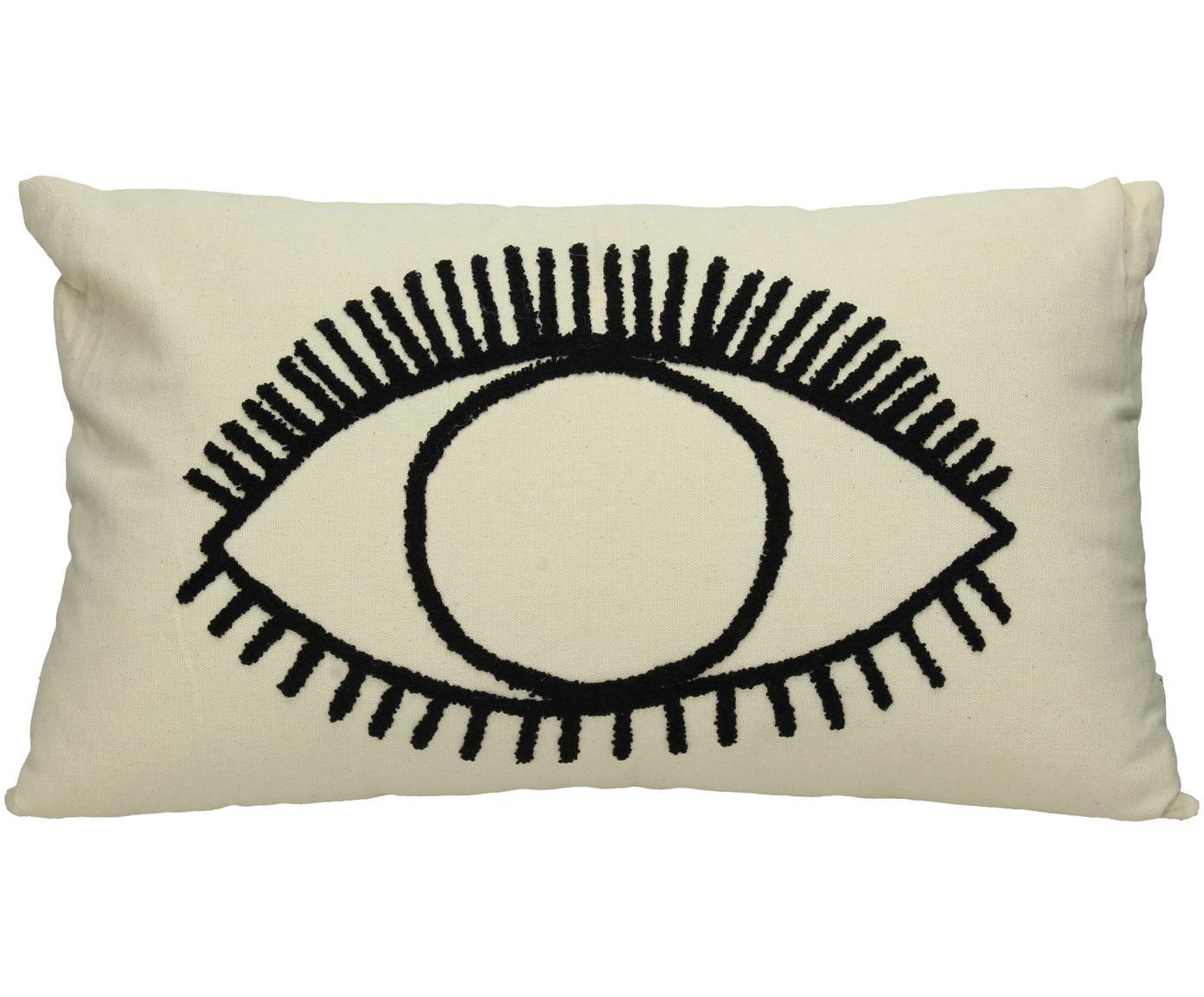 Poduszka z wypełnieniem Eye, Bawełna, Odcienie kości słoniowej, czarny, S 35 x D 50 cm
