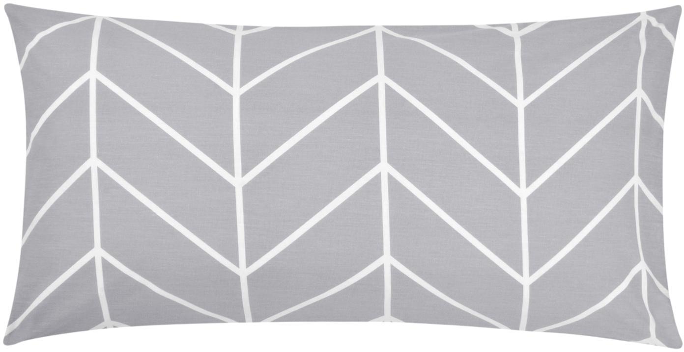 Baumwoll-Kissenbezüge Mirja mit grafischem Muster, 2 Stück, Webart: Renforcé Fadendichte 144 , Grau, Cremeweiss, 40 x 80 cm