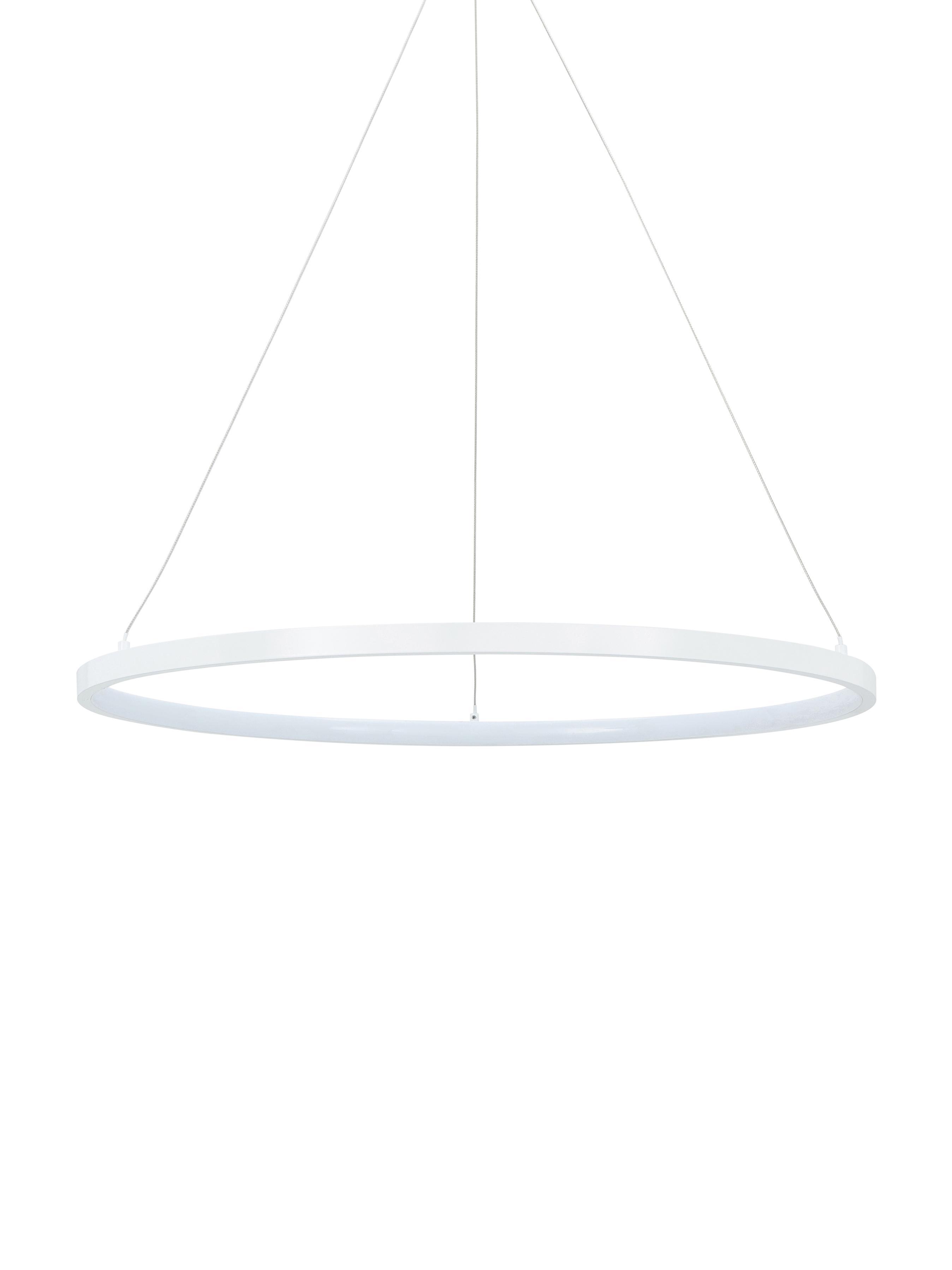 LED hanglamp Jay, Baldakijn: gepoedercoat aluminium, Lampenkap: gepoedercoat aluminium, k, Baldakijn: mat wit. Lampenkap: mat wit. Snoer: zilverkleurig, Ø 60 x H 150 cm