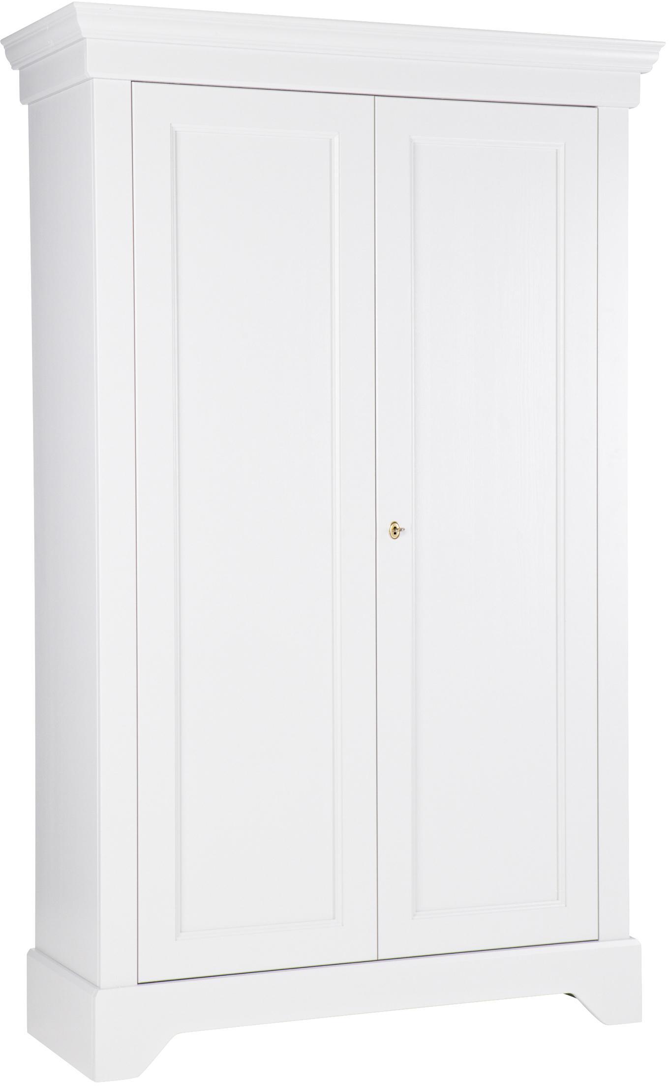 Kledingkast Isabel van grenenhout, Frame: gelakt grenenhout, Wit, 118 x 191 cm