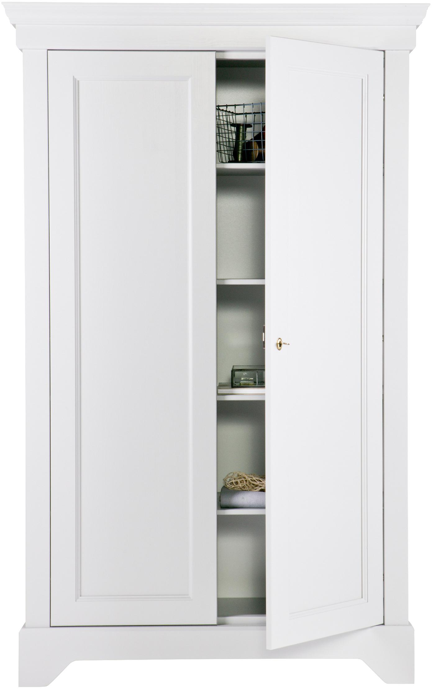 Schrank Isabel aus Kiefernholz, Korpus: Kiefernholz, lackiert, Weiß, 118 x 191 cm