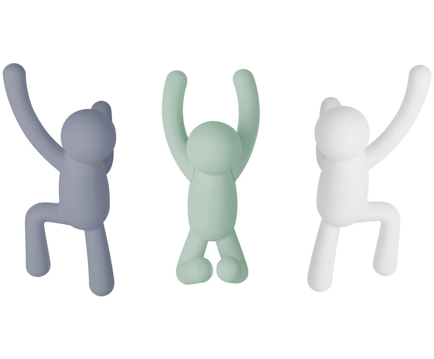 Set 3 ganci appendiabiti da parete Buddy, Materiale sintetico ABS, Blu, verde menta, bianco, Diverse dimensioni