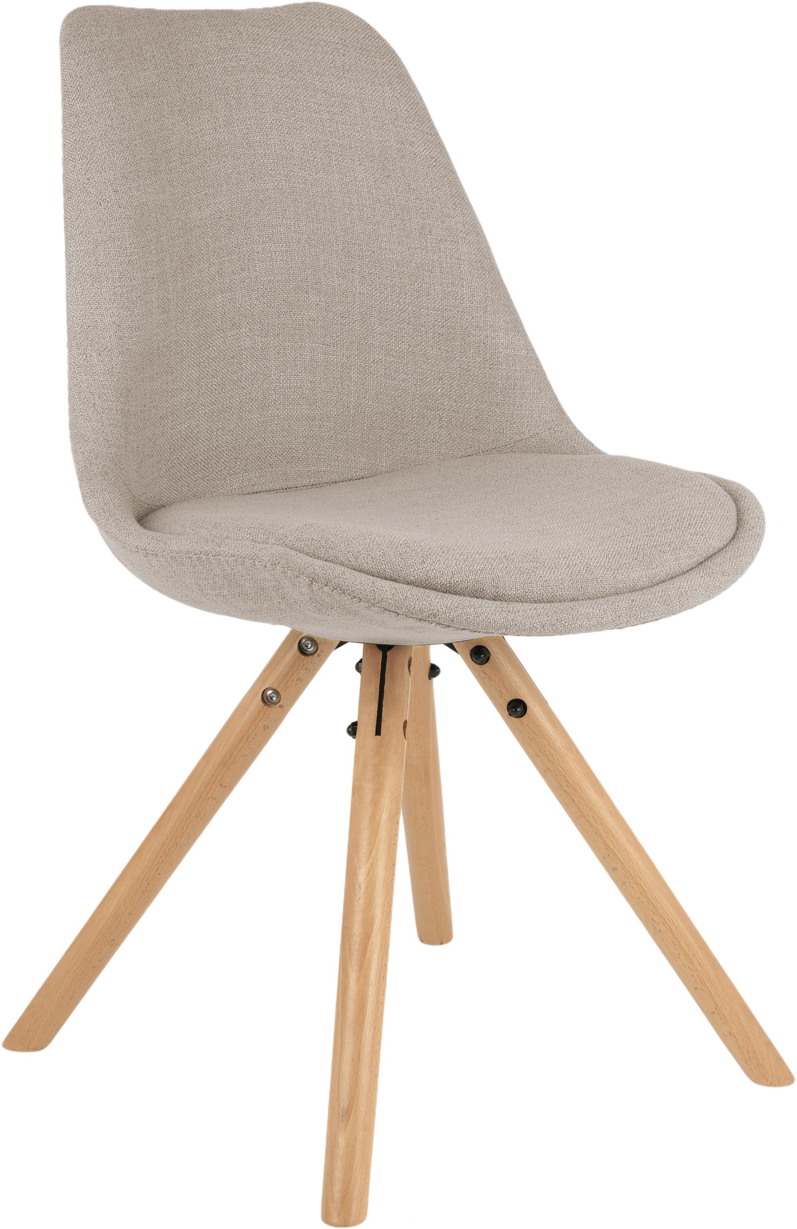 Polsterstühle Max im Skandi Design, 2 Stück, Sitzschale: Kunststoff, Bezug: Polyester 20.000 Scheuert, Beine: Buchenholz, Webstoff Beige, B 46 x T 54 cm
