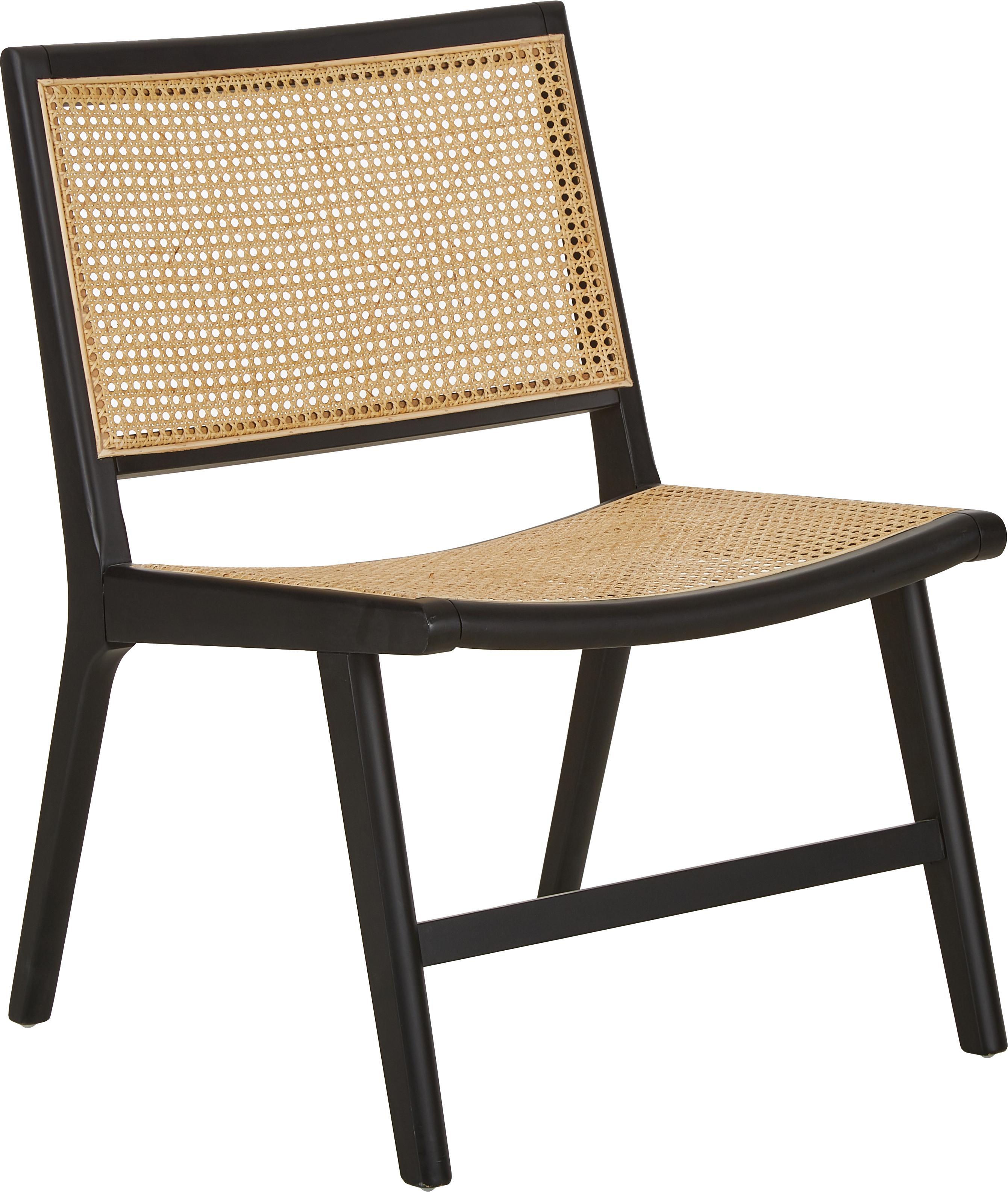 Sedia a poltrona con intreccio viennese Franz, Seduta: rattan, Struttura: legno di betulla massicci, Seduta: rattan Struttura: nero verniciato, Larg. 57 x Prof. 66 cm