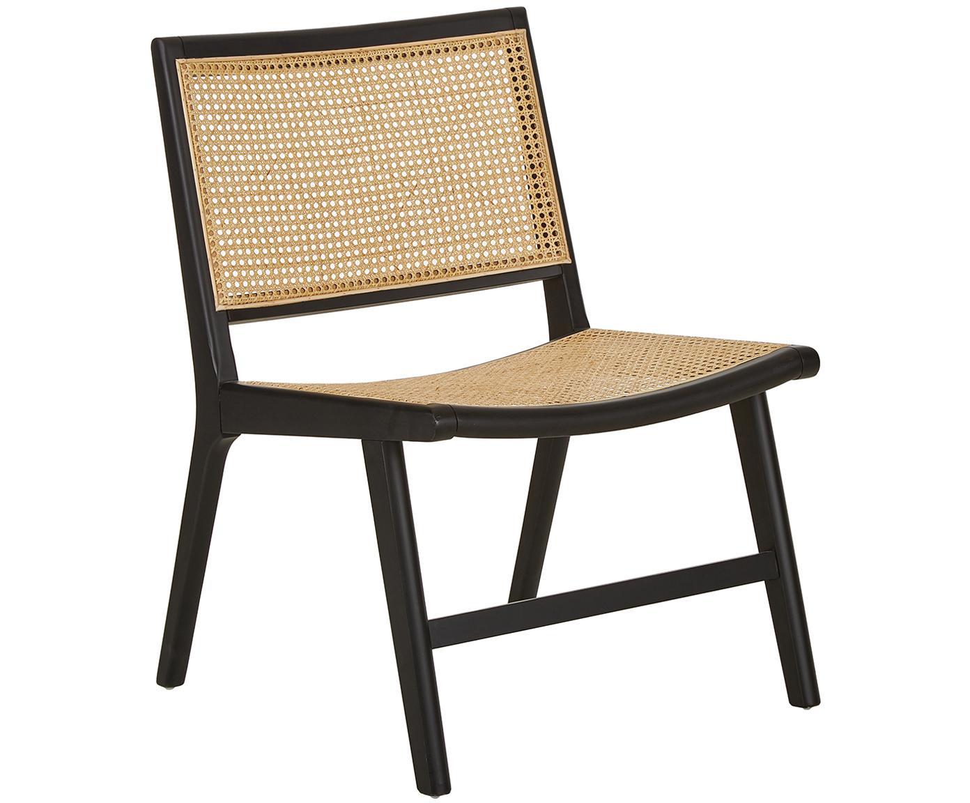 Fotel wypoczynkowy z plecionką wiedeńską Franz, Stelaż: lite drewno brzozowe, lak, Siedzisko: rattan stelaż: czarny, lakierowany, S 57 x G 66 cm