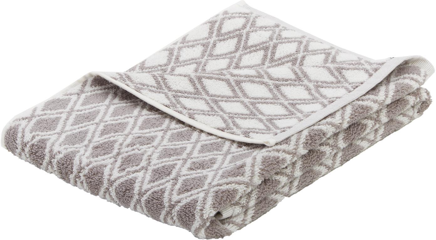 Wende-Handtuch Ava in verschiedenen Grössen, mit grafischem Muster, Taupe, Cremeweiss, Handtuch