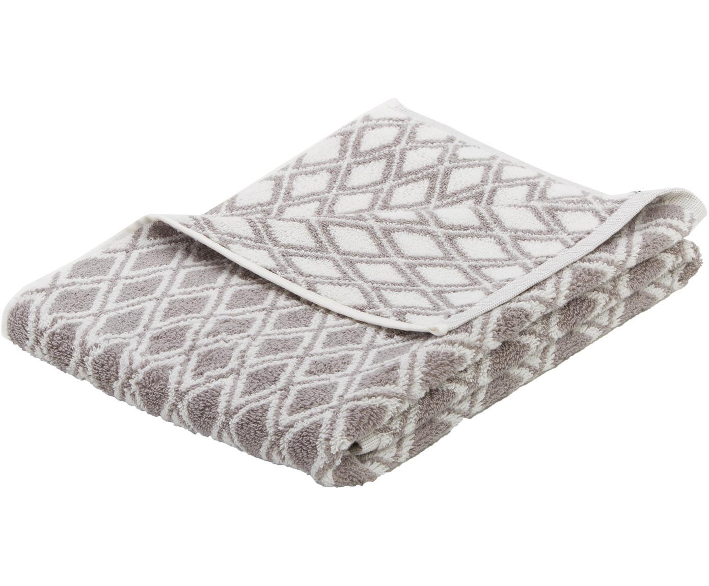 Wende-Handtuch Ava mit grafischem Muster, Taupe, Cremeweiß, Handtuch