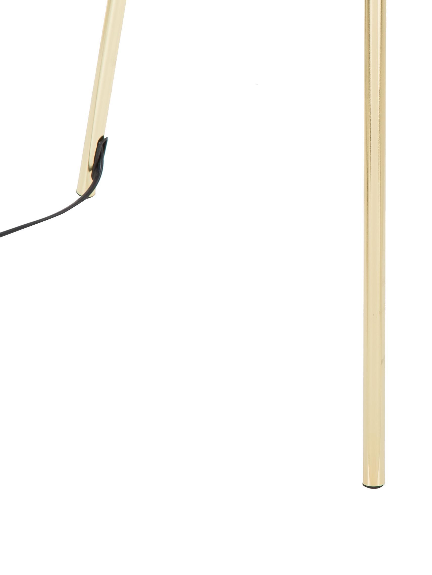 Lampada da terra Cella, Paralume: cotone, Base della lampada: metallo, Nero, dorato, Ø 45 x Alt. 148 cm