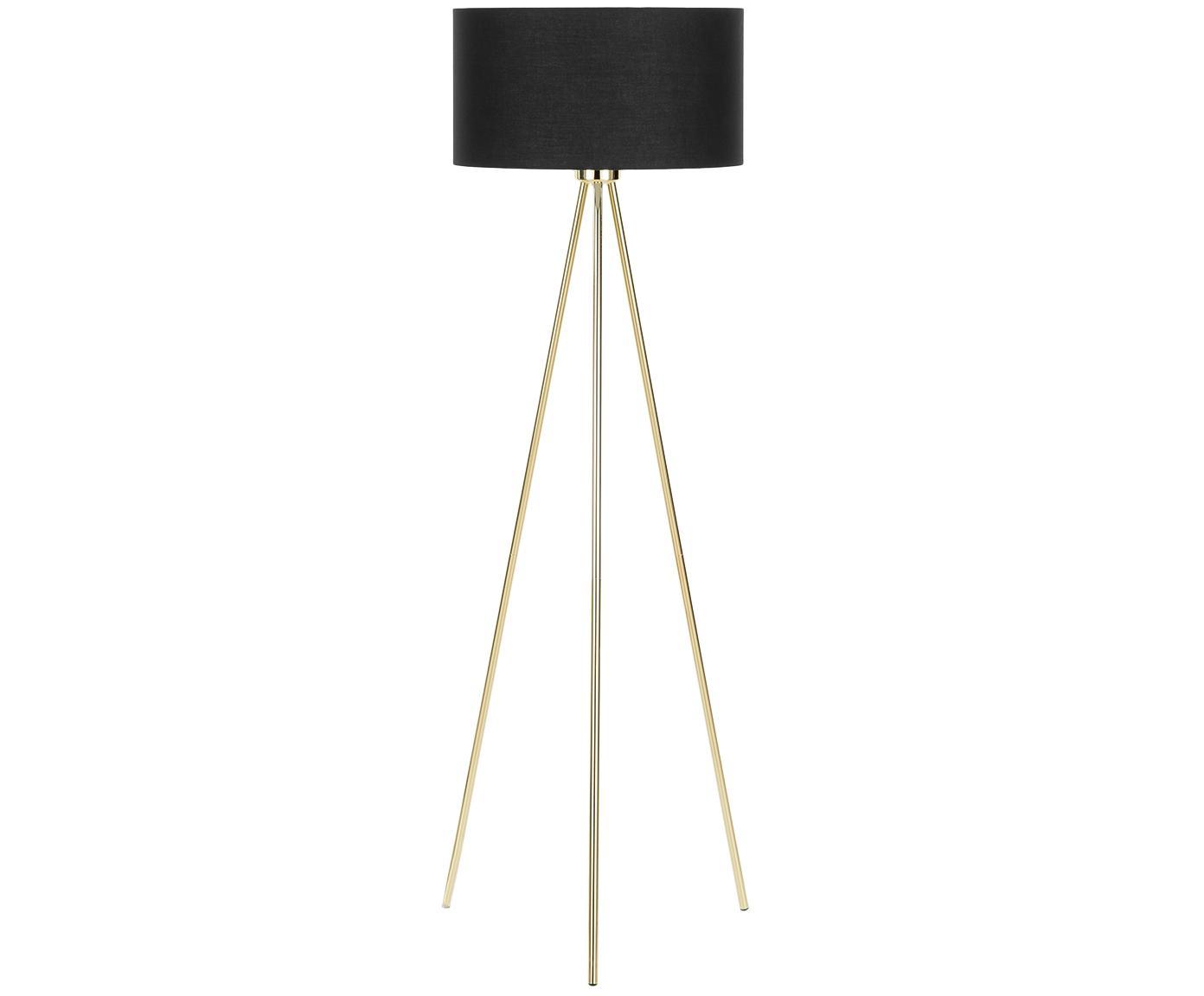 Lámpara de pie Cella, Pantalla: algodón, Negro, dorado, Ø 45 x Al 148 cm