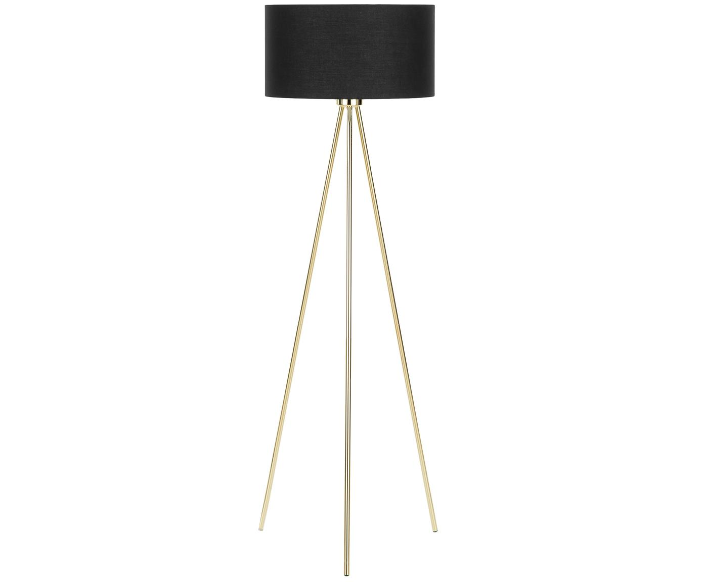 Stehlampe Cella, Lampenschirm: Baumwolle, Schwarz, Goldfarben, Ø 45 x H 148 cm