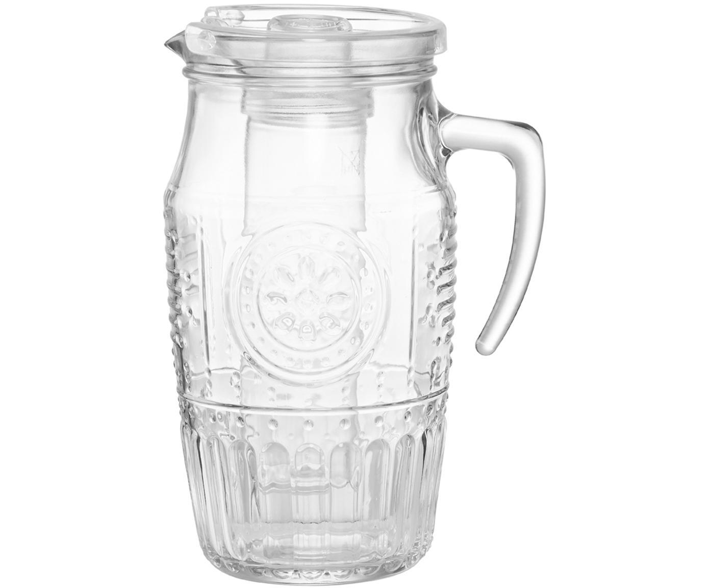 Karaf Freezy met ijsinzet en reliëf, Glas, polypropyleen, Transparant, Ø 11 x H 24 cm