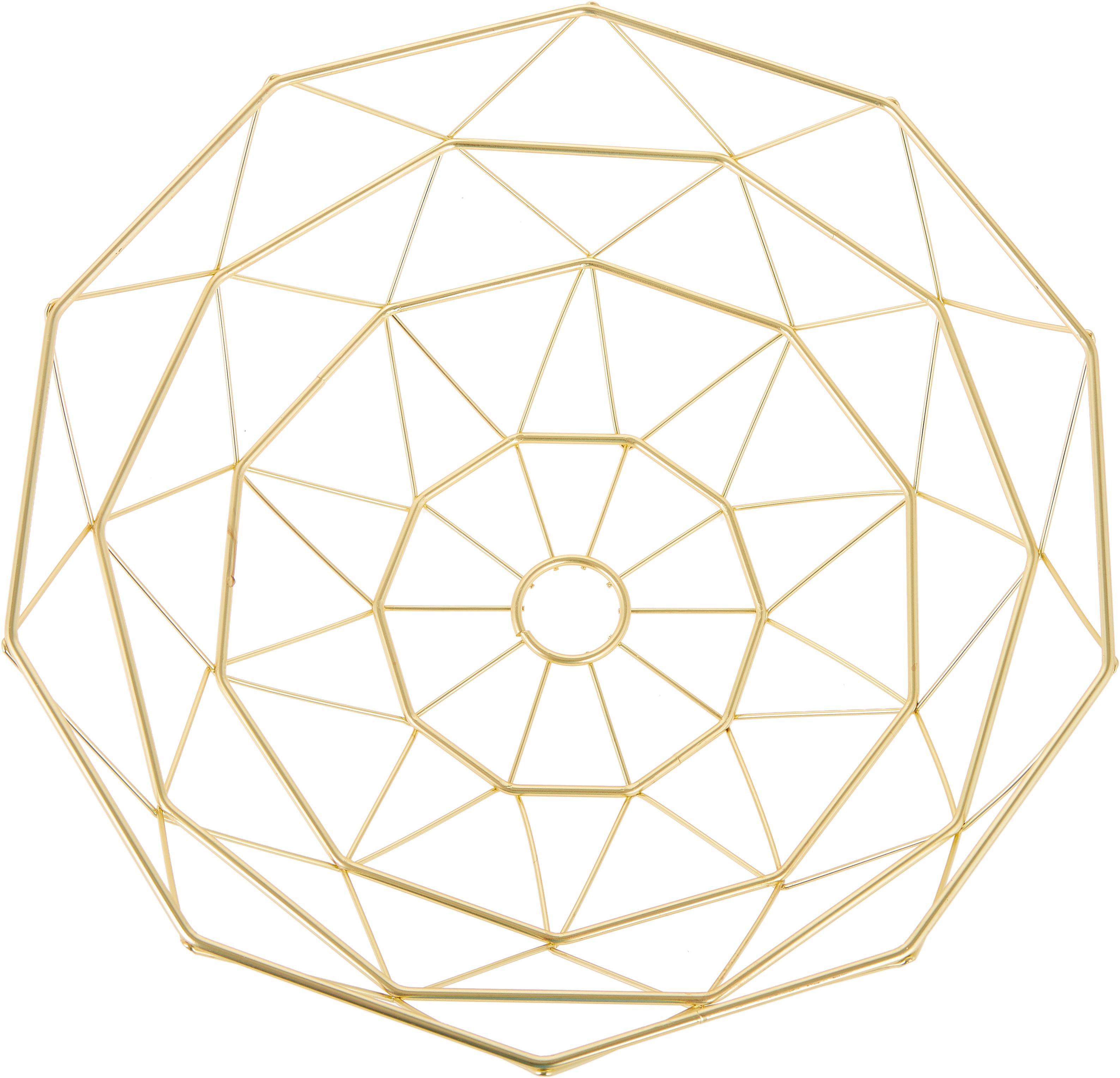 Aufbewahrungskorb Diamond Cut in Gold, Metall, Goldfarben, matt, Ø 35 x H 13 cm