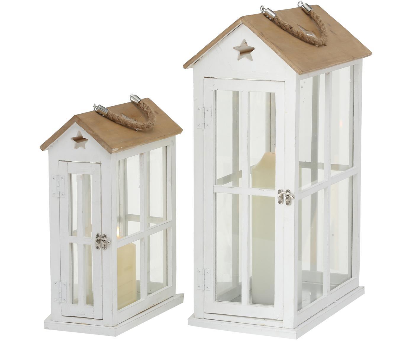 Set de farolillos Casa, 2pzas., Estructura: madera de pino recubierta, Asa: yute, Blanco, madera, Tamaños diferentes
