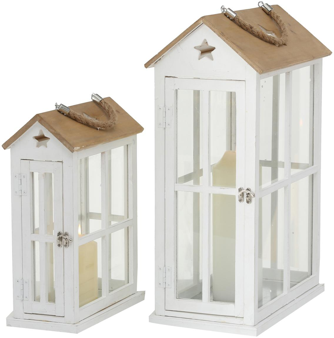 Lantaarnset Casa, 2-delig, Frame: gecoat sparrenhout, Wit, houtkleurig, Set met verschillende formaten